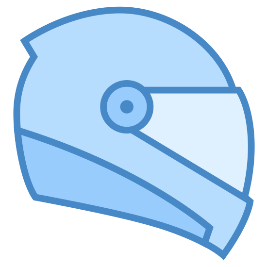 Motorbike Helmet icon. It is the outline of a helmet as seen from the right side, in profile. A circle and a dot in the center represent where the visor meets the helmet, and there is an outline representing the visor as well.