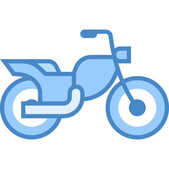 Motocykl icon. The icon is a motorcycle.  The view is from the side.  You see the seat in the middle and two small tires on either side.  The handle bars come up just over the seat of the bike.