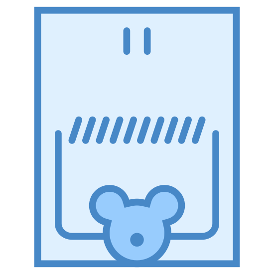Mouse Trap Mouse icon. This icon represents a mouse trap. It is a rectangle shape with rounded edges. At the bottom center is a small face shape with a round circle for a nose. Inside the rectangle is a line of sideways marks over the face and a round half rectangle around it.