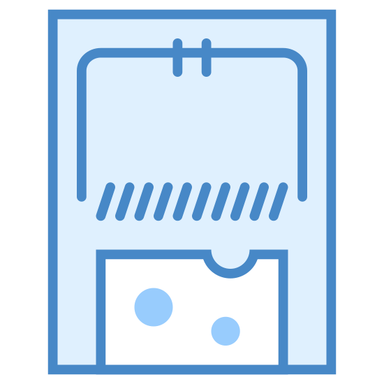 Mouse Trap icon. A mouse trap is a rectangle shape and inside the rectangle where the top half is, there is another rectangle with 1 side missing which is the trap. In the bottom half of the mouse trap there is a square with tiny circles in it, which represents the cheese of the mouse trap.