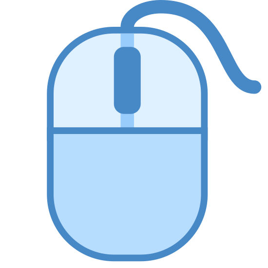 Ratón icon. This icon is a computer mouse that is oval in shape and would fit snugly in someone's hand. It is separated into 3 sections, a top half that is separated into a left and right button and a large bottom portion.