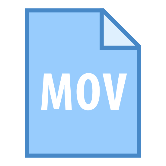 MOV icon. It is a logo of a computer file named with three letters MOV.  It is a rectangular shaped icon with the top right corner bent like the dog ears page.