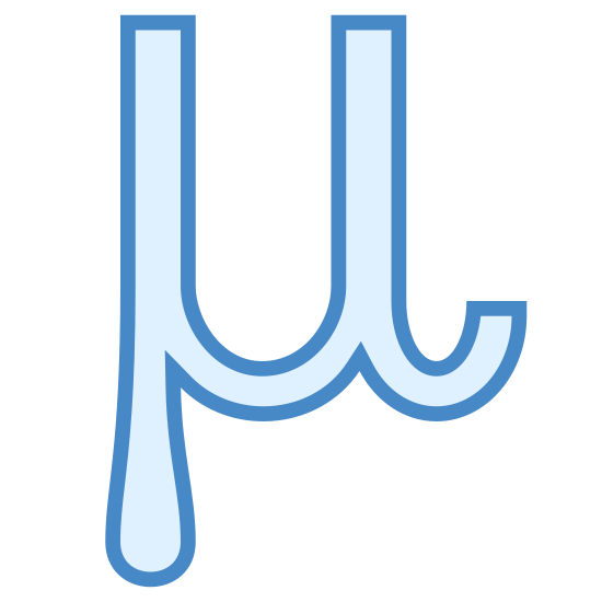 Mu icon. The icon is shaped like the letter U but it is not fully completed. The bottom left part of the icon sticks out a bit and forms a tear like shape that looks like it is dripping downwards.