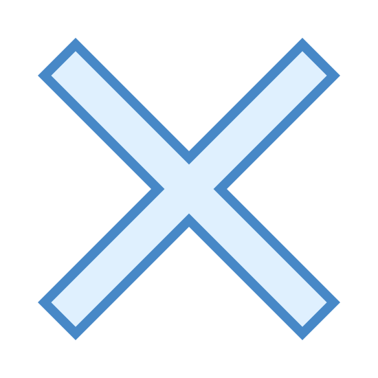 Multiply icon. This is just a photo of the letter X. It is one diagonal line going from the upper right to lower left, going through another diagonal line going from left to right.