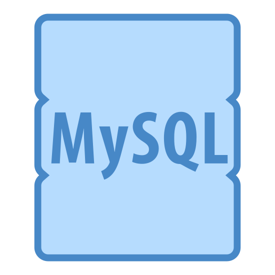 MySQL icon. The icon is the phrase MySQL within a square with rounded corners. MySQL is software used to run an SQL relational database, very popular among both business and personal users.