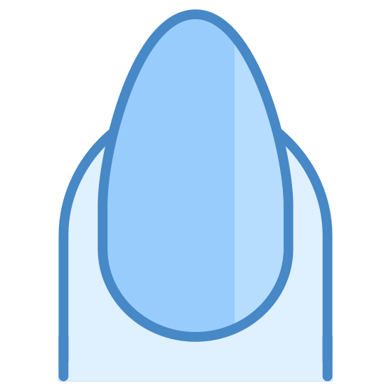 Nails icon. It's the image of a long polished fingernail and the top part of a finger.  The nail is shaped to make it more rectangular than would be natural.  There is a line drawn on the fingernail to indicate shine, as if the nail were polished or painted.