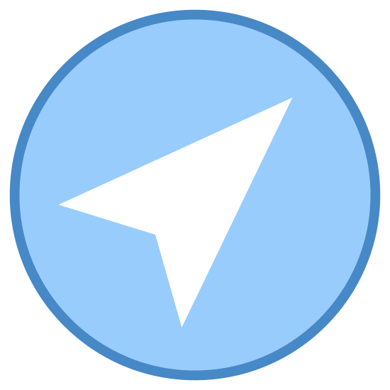 Near Me icon. This icon is just one big circle with an arrow in the middle of it. The arrow is pointing to the upper right. The arrow is pointed not only on that side, but also has to points on the bottom of it.