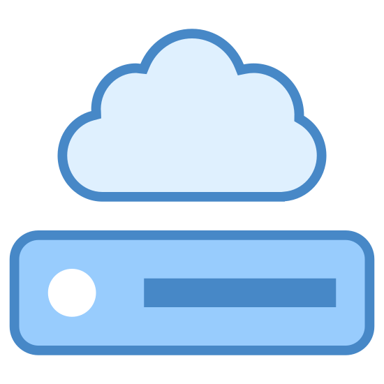 Dysk sieciowy icon. It's a logo of Network Drive reduced to an image of a cloud overhead of a drive. It is a drive that can be used to store information over the internet instead of on a hard drive. It looks like the network drive logo on my computer.