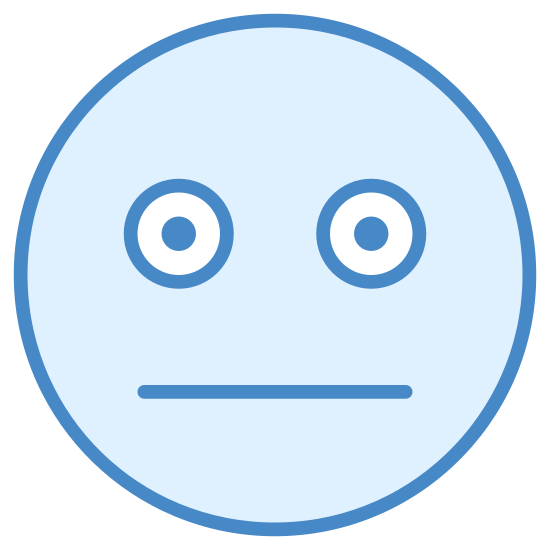 Neutral icon. This icon is depicting a face with a completely neutral expression. It is comprised of two circles for eyes and a straight line as its mouth within a larger circle.