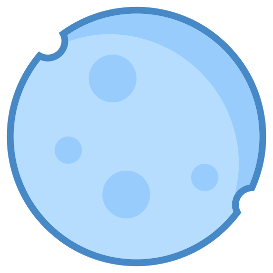 New Moon icon. The icon is the shape of a full circle. The inside of the full circle is covered with a large amount of dots that cover the entire shape. Each dot is spaced evenly through out the circle.
