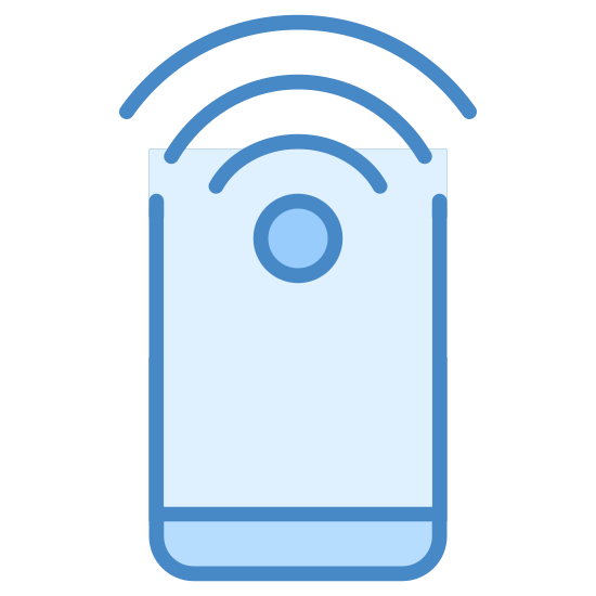 Punkt kontrolny NFC icon. This logo displays the image of a typical smartphone, in a vertical position. At the top of the phone is a typical wifi signal logo - the set of three lines curving downward over a small circle.