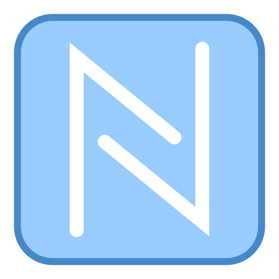 NFC N icon. The icon is shaped like a square with rounded edges. Inside the square are two V shapes , the first is upside down and the other is right side up. The over lap each other to form a shape that looks like an upper case letter N.