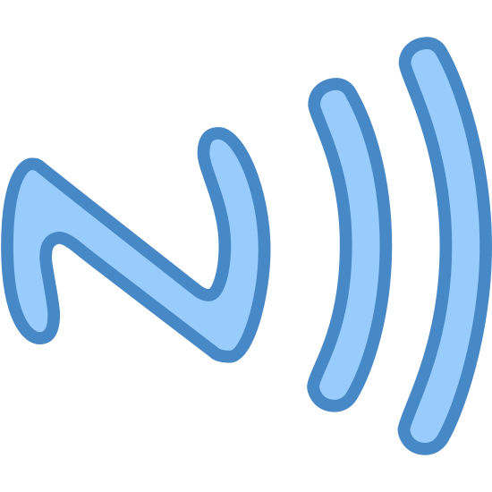 NFC Tag icon. This icon has an outlined letter Z that is laying on its side. At the end of the outlined letter Z, two curved lines, the first line being short and second being longer, hug up again the letter.