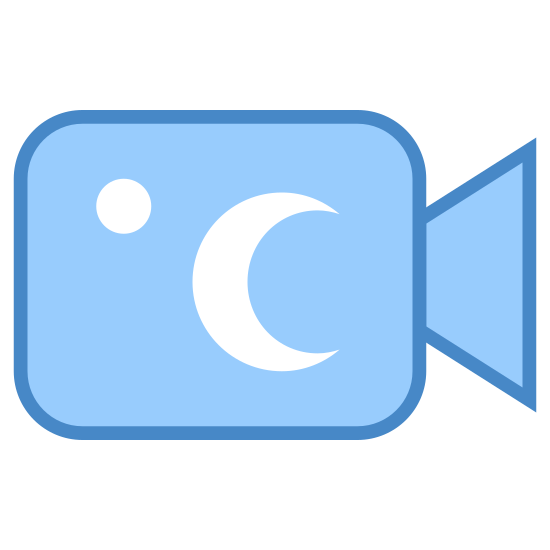 Night Camera icon. The icon night Camera is a square with round corners Attached to the right side of the square is a triangle with the base pointed away from the square. Inside the square is a small circle at the top left corner and a crest moon towards the right middle side.