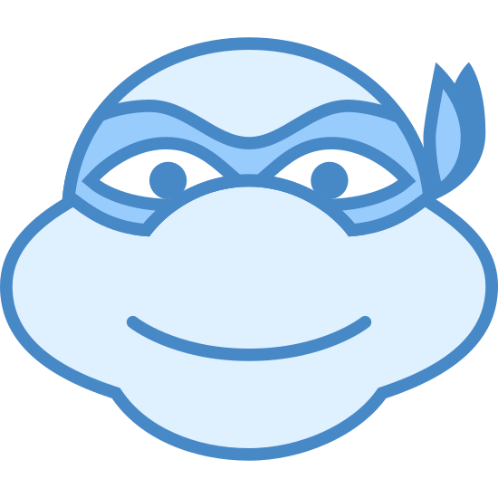 Ninja Turtle icon. Its an image the ninja turtle face.  Its an oval shape with two slight bulges on both sides. The bulges are there to represent the face or jaw line. Inside of the oval is a semi circle in the middle, the nose, and a horizontal line representing a mouth.  Directly above the nose are two ovals, equal distance apart. centered within two horizontal lines.