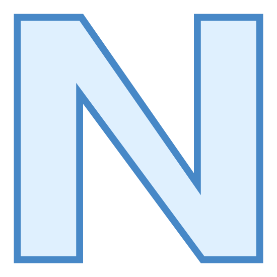 "Nintendo icon. It's a block-letter style rendering of the letter ""N"". The two vertical parts are equal in size to one another and they are wider than the part of the letter that extends from the upper left to the lower right."