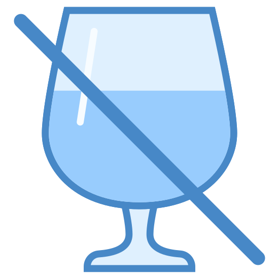 Bez alkoholu icon. This is a drawing of a wine glass that is most of the way full. Going from top left to bottom right there is a line going across the wine glass probably to say no alcohol is allowed.