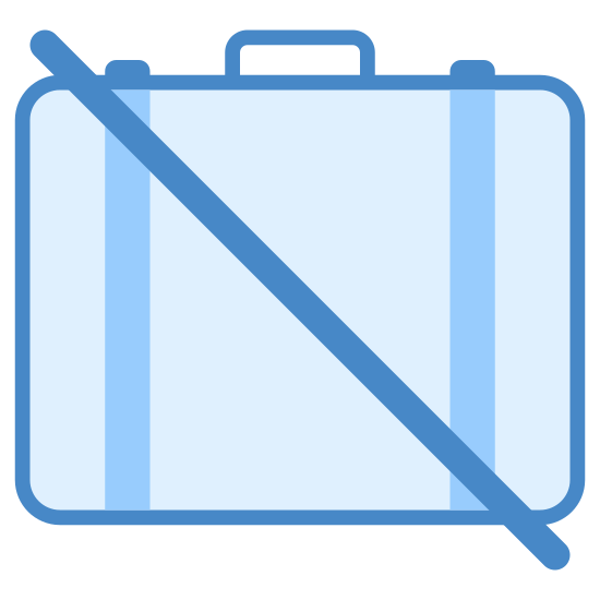 No Baggage icon. A rectangle with all four corners curved. Rectangle has a upside down U on the top and middle of the rectangle. The whole drawing also has a diagonal line across the whole drawing. The diagonal line is from the top left corner to left bottom corner.
