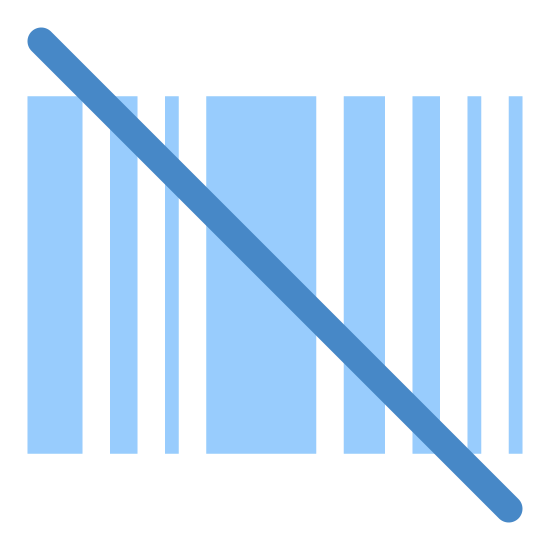 No Barcode icon. This icon is drawn in the shape of a standard barcode with a line drawn through it. The line starts near the upper left corner and goes to the bottom right. The bar code is made up of two thin lines then a thick line then three thin a thick and two more thin lines.