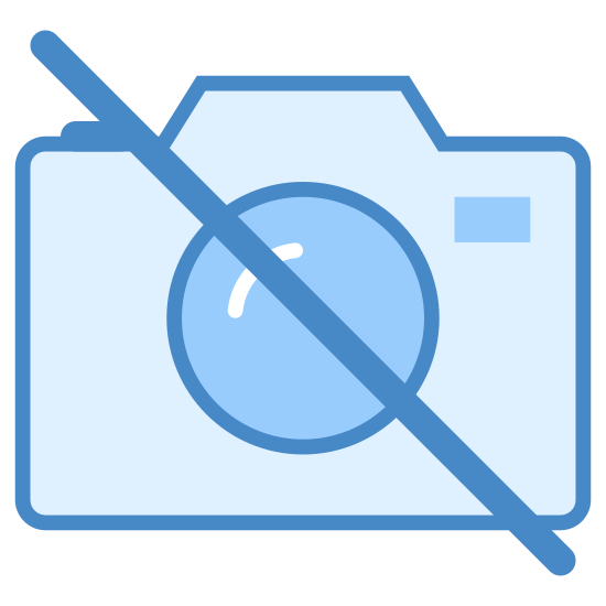 """Pas d'appareil photo icon. An outline of a traditional camera, slashed through diagonally by an unbroken line in the universal symbol for """"no"""", or not allowed. Reminiscent of the icon of a camera used on a phone, but struck through."""