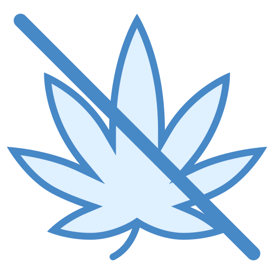 Sem drogas icon. This icon is depicting the leaf of a marijuana plant with a line drawn through it. The leaf is perfectly symmetrical and contains seven segments that are rounded and pointed towards the end.