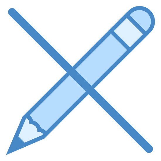 編集禁止 icon. It's a picture of a pencil with the tip of the pencil facing southwest. There is a solid black line running in the opposite direction from the northwest to the southeast that intersects the pencil at the middle. Together, the pencil and line form an X shape.
