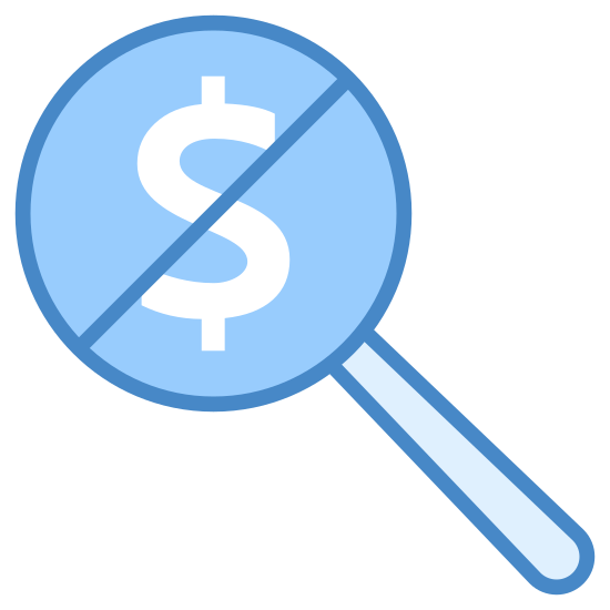 Fee icon. This is a picture of a dollar sign inside of a circle. on the bottom right hand corner of the circle a line is coming out. across the dollar sign is a slanted line as if to say avoid or no.