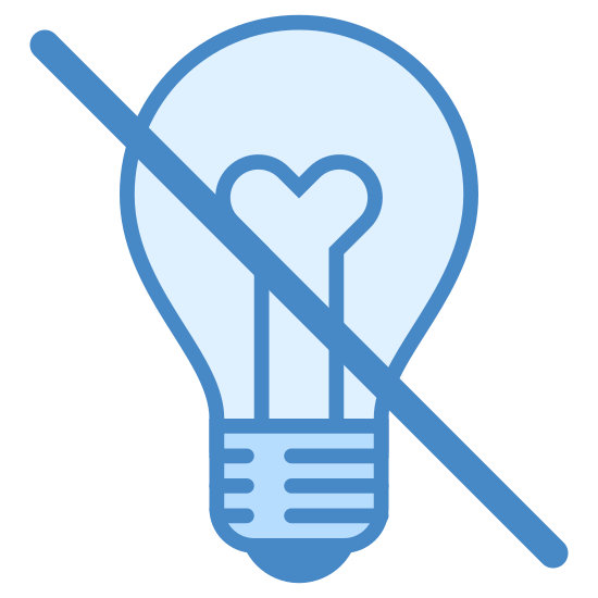 Brak pomysłu icon. There is a figure that looks like a light bulb. two parallel lines both extend outward before wrapping around to form a partial circle. within it is a Y shape. A diagonal line is drawn through the bulb shape