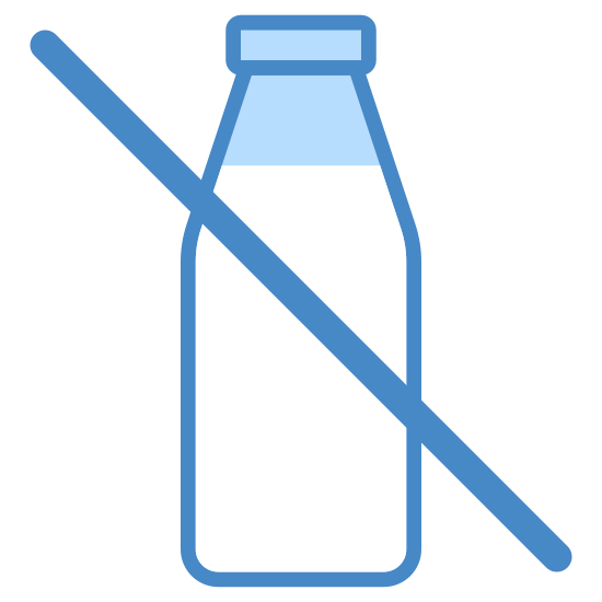 Dairy icon. The icon is a depiction of a Milk glass bottle. The glass milk bottle has a diagonal line running through it from upper left to bottom right.