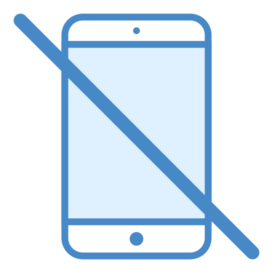 No Mobile icon. This is a mobile device. The line that crosses over the device means that no mobile devices are allowed.