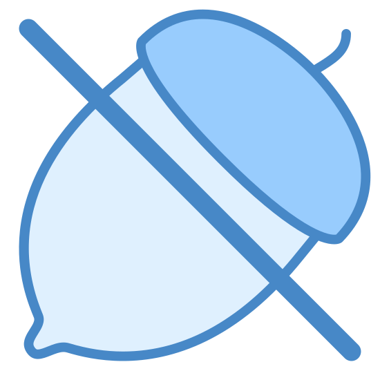 No Nuts icon. This is an icon of a acorn with a horizontal strike through going over it.  The acorn is at a 45 degree angle and has a pointed bottom with a slightly larger cap where the stem comes out of the acorn.