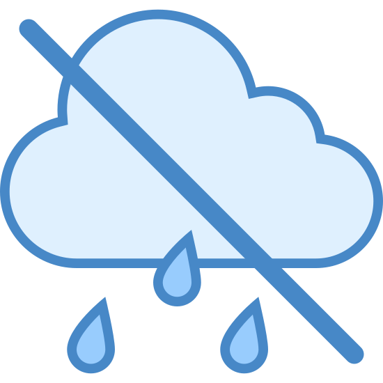 No Rain icon. This image is depicting no rain. There is a cloud with lines of rain coming off of it. There is a diagonal line crossing through the cloud.