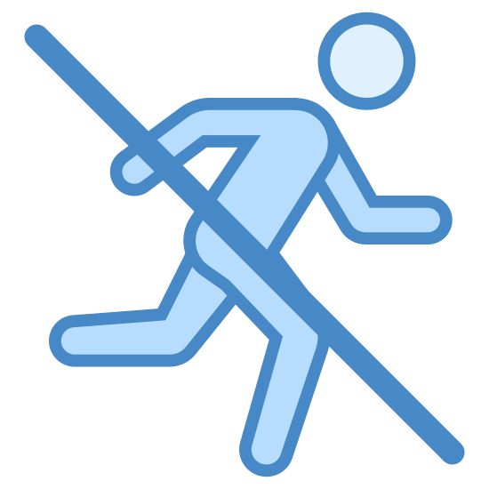 Nie biegać icon. This logo features an outline of a man with a slash through his body. The slash is there to represent a ban against running so that people are aware that they should not run in the area.