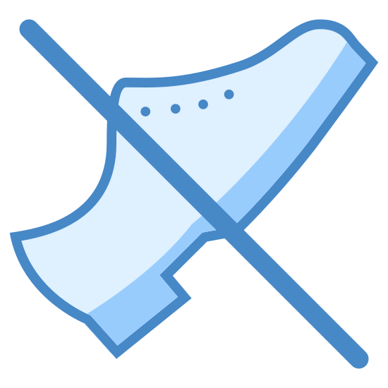 No Shoes icon. This icon depicts a pair of shoes with a slash mark running through them. The purpose of the icon is to convey to the onlooker that shoes are not allowed.