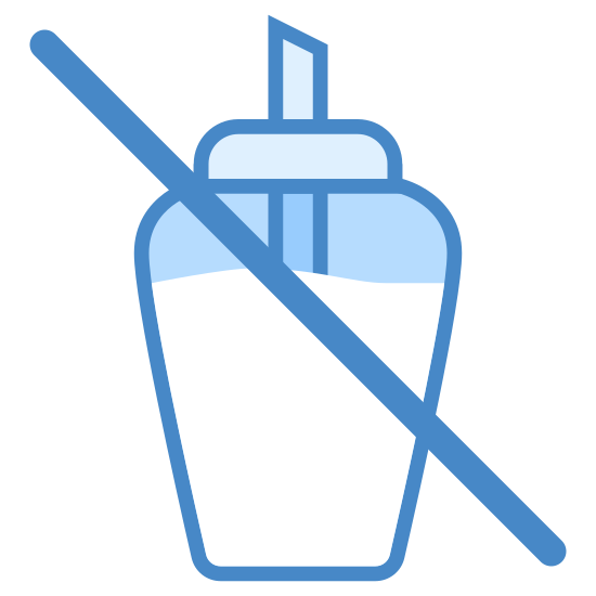 No Sugar icon. It is and image of a cup with a lid and a straw filled with some kind of liquid. There is a line going through the cup like no sugary drinks are allowed.