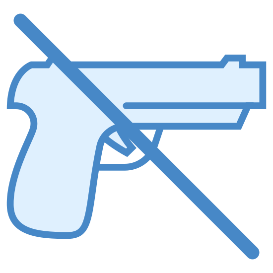 Żadnej broni icon. The icon shows that weapons are not allowed. It is a handgun with a diagonal line going through it. The line goes from the top-left of the gun to the bottom-right.