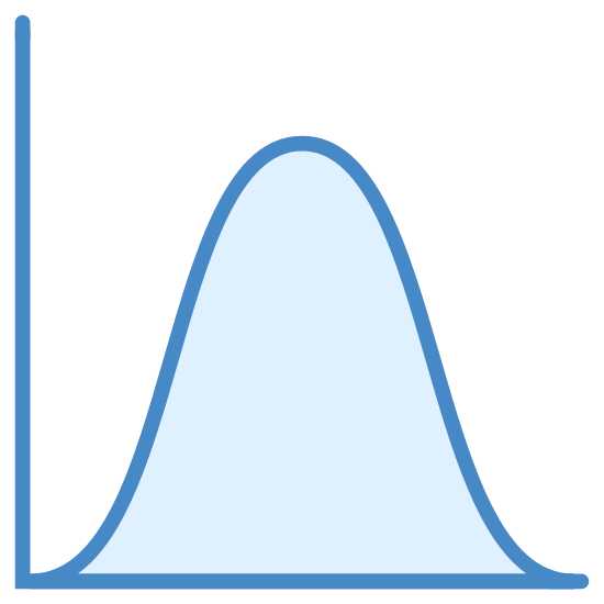 Normal Distribution Histogram icon. There is a large L shaped line and along the bottom line starts a curved line swooping upwards than back down. It appears to be the basis of a graph.
