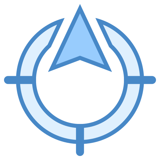 North Direction icon. This icon is a circle with an opening at the top of it. Out of that opening is an arrow pointing upwards. On the right, left, and bottom sides of the circle are lines coming out of it.