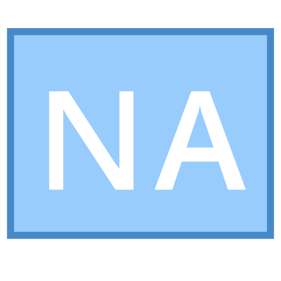 "Not Applicable icon. It's a logo for the words ""Not Applicable"". It is a box with rounded corners. Inside the box are the letters N and A. Both of them are capitalized."