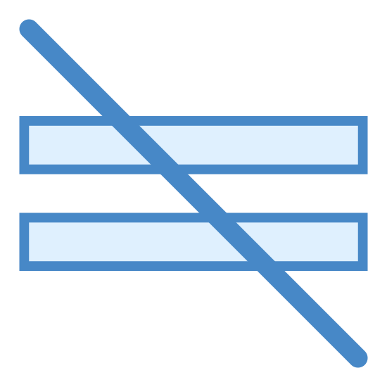 Not Equal icon. This icon is depicting a 'not equal' symbol. The symbol is characterized by two horizontal lines parallel to each other that are bisected diagonally with a line crossing through both lines.