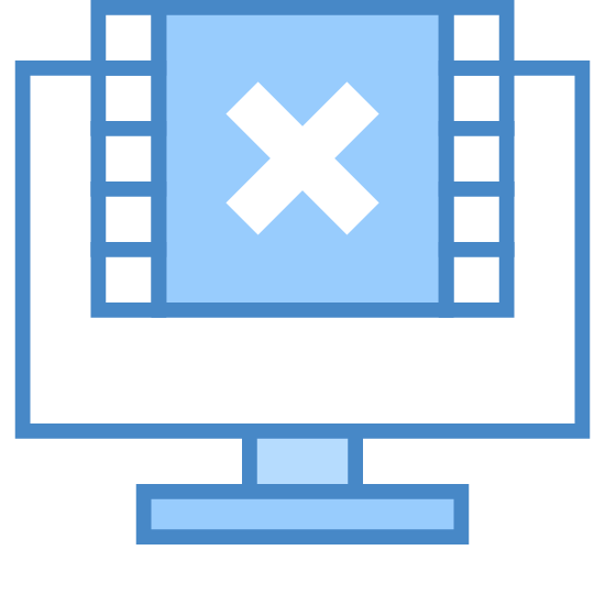 Nie wysyłanie klatek wideo icon. This is a square with an X in the middle of it. the square has tiny black squares lining the left and right sides of it. The square is missing its top. There is a bigger square behind it.0