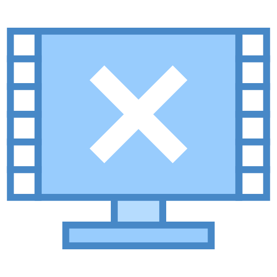 """Not Showing Video Frames icon. This is a picture of an LCD television with eight small squares inside of it. there are four on each side, and an """"x"""" in the middle of the screen."""