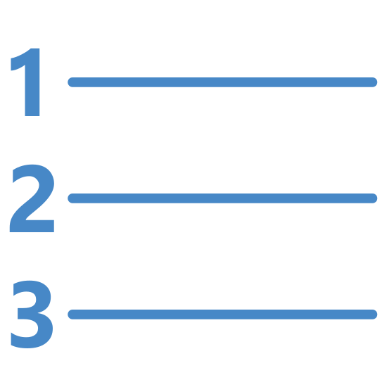 Numbered List icon. This icon is depicting a numbered list. Each line of the list is ordered one-through-three and is horizontally structured with a line following each number. The numbers one through three are trending downward.