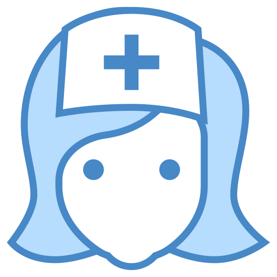 Nurse icon. This is an image of the front of a nurse's face. The face has no features to identify it but has shoulder length hair. The nurse is wearing a rectangular hat with a cross in the center.