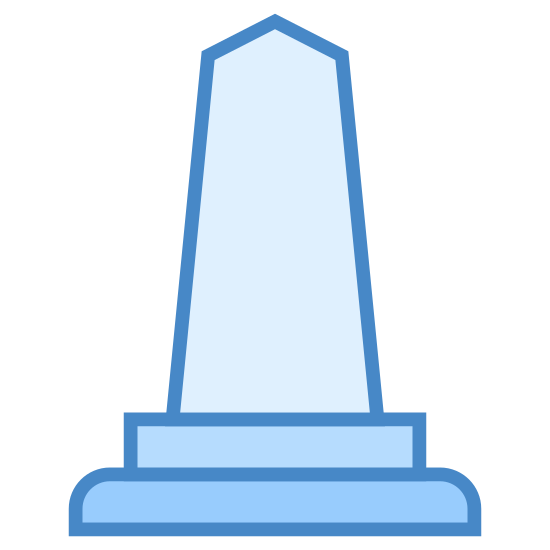 Obelisk icon. This icon has to small rectangles, one on top of the other, for the base. The bigger one is under the smaller. Then it has a big structure with three points on top of that.