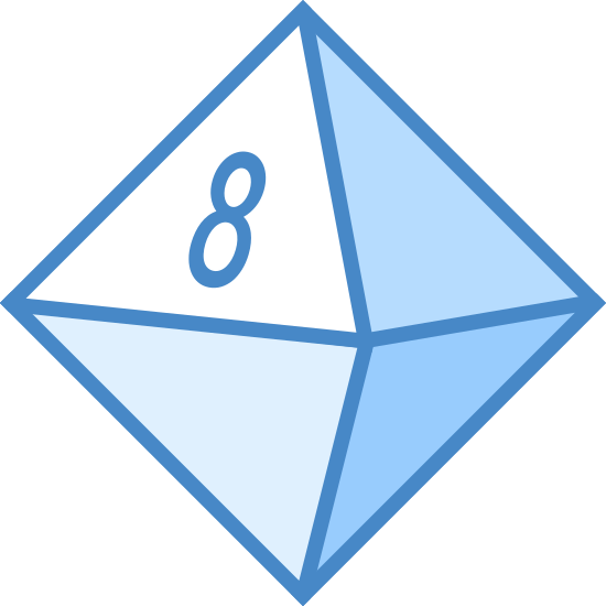 Oktaedr icon. The icon is a picture for the logo Octahedron. The icon is a picture of what looks to be an 8 sided die. The die is in the shape of an 8 sided diamond. The die has the number eight visible on the front of it.