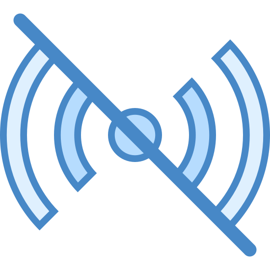 Offline icon. It's an image of a long diagonal line from the top left to the bottom right. It's cutting a signal image in half diagonally. The signal image is a small circle in the middle with two partial curved lines emanating from each side.