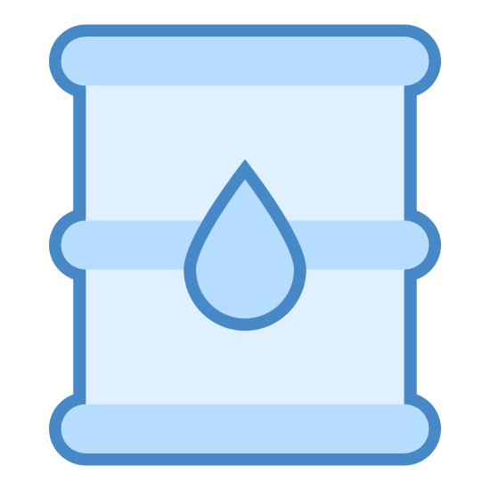 Przemysł naftowy icon. This icon is a simple drawing of an oil barrel. There is a small droplet on the middle of the barrel.