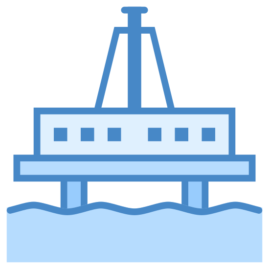 Oil Platform icon. It's a drawing meant to look like an industrial looking platform on stilts or pylons. Across the bottom of the image are to horizontal wavy lines running parallel to one another to represent water. coming out of the water is two pylons supporting a platform. There is a structure on the platform to make it look like an oil rig.