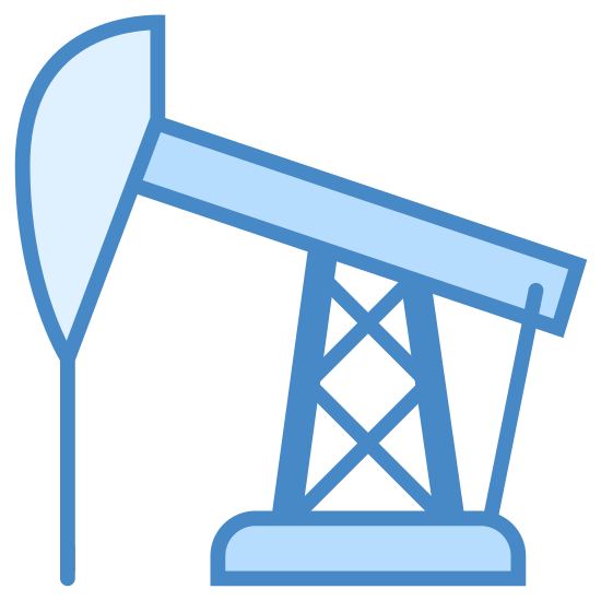 Oil Pump icon. This is an oil pump jack. It it a very large drill attached to a platform by a pole. This creates a fulcrum that moves the drill head up and down, pumping the oil from inside the Earth to the surface. It has a counter-balance on the right hand side of it in order to drive the motion of the jack.